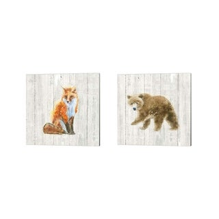 Emily Adams 'Into the Woods no Border on Barn Board' Canvas Art (Set of 2)