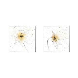 Avery Tillmon 'Gilded Graphite Floral' Canvas Art (Set of 2)