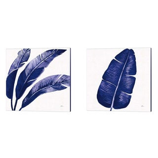 Porch & Den Janelle Penner 'Welcome to Paradise Indigo A' Canvas Art (Set of 2)