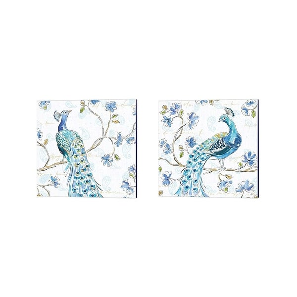 Daphne Brissonnet 'Peacock Allegory White' Canvas Art (Set of 2)