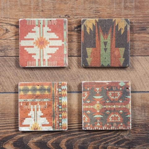 HiEnd Accents Aztec Coasters, Set of 4