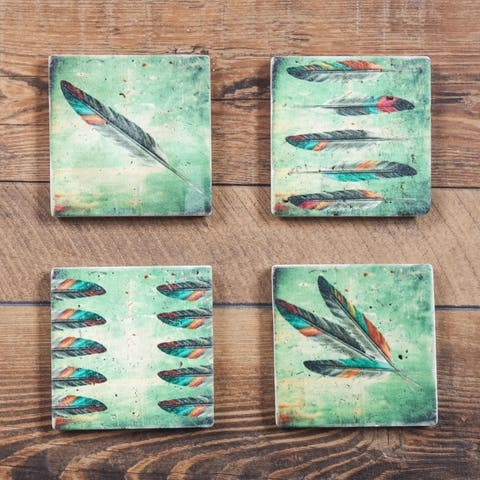 HiEnd Accents Feather Coasters, Set of 4