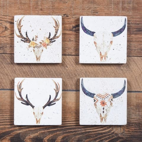 HiEnd Accents Skull coasters, Set of 4