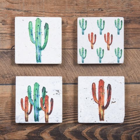 HiEnd Accents Bright Cactus Coasters, Set of 4