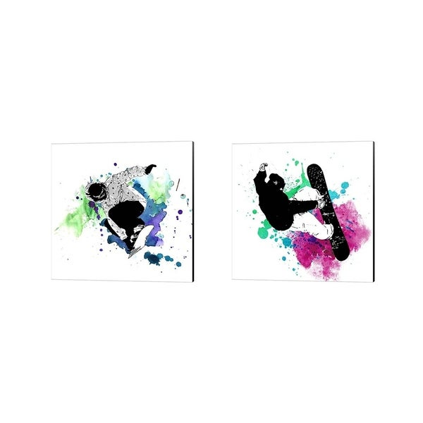 Sports Mania 'Snowboarder Watercolor Splash' Canvas Art (Set of 2)