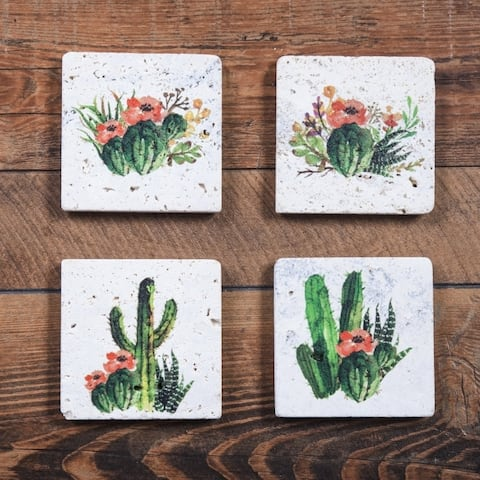 HiEnd Accents Cactus Blooms Coasters, Set of 4