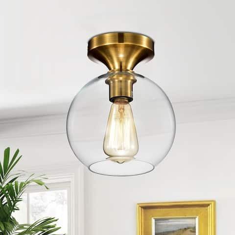 Gorden 1-light Satin Gold Flushmount Ceiling Lamp