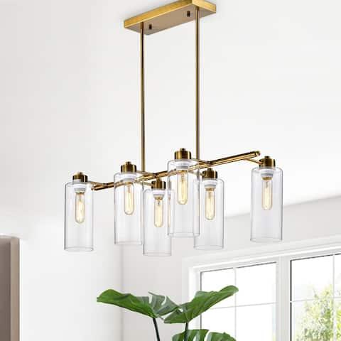 Pameron 6-light Satin Gold Chandelier with Glass Pillar Shades