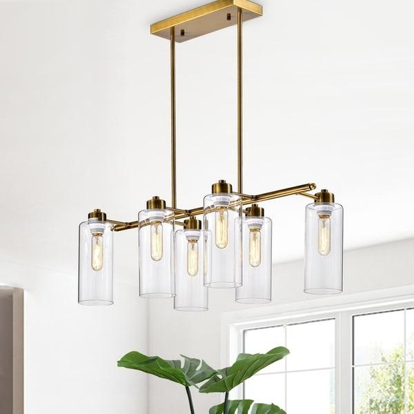 Pameron 6-light Satin Gold Chandelier with Glass Pillar Shades. Opens flyout.