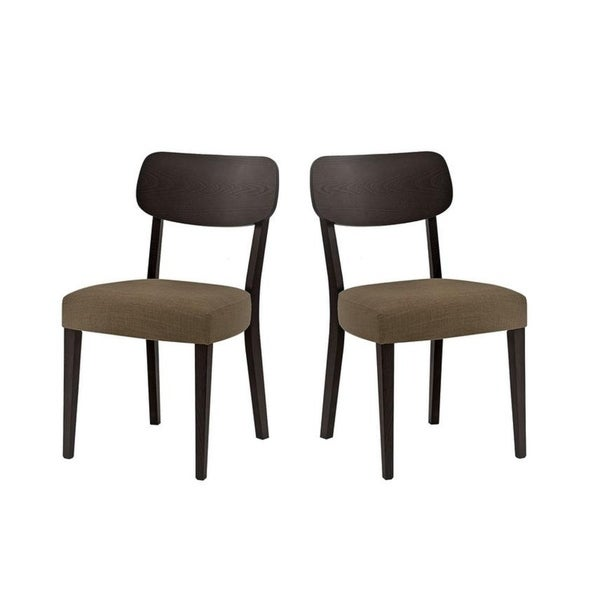 new spec dark brown mid century upholstered wood chairs set of 2