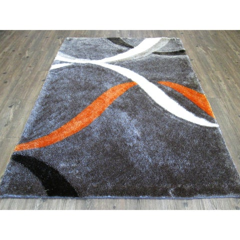 "Mocha and Orange Contemporary 8x11 Rug - 7'6"" x 10'3"""