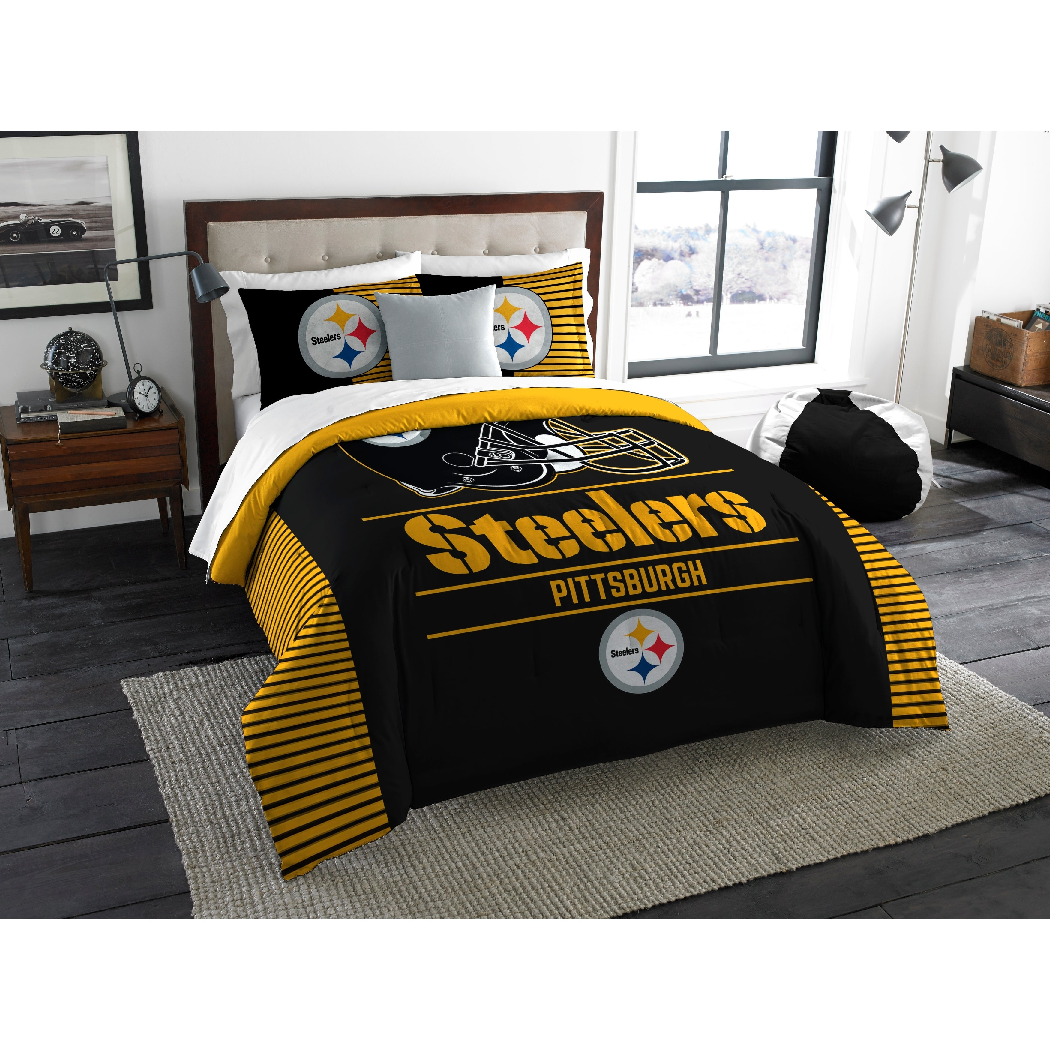 Bedding Set Twin Pittsburgh Steelers Bed In A Bag Polyester Machine Washable