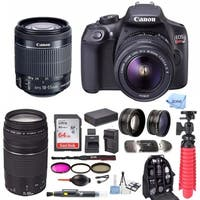 Canon EOS Rebel T6 18.0 MP DSLR Camera w/ 18-55mm & 75-300mm Lenses & Large Gadget Bag with 64GB SD Card Bundle