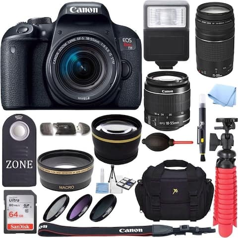 Canon EOS Rebel T7i DSLR Camera w/18-55mm & 75-300mm lens & 64GB Premium Accessory Bundle