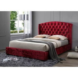 Classic Tufted Red Crushed Velvet Wingback Queen No Box Spring Required Platform Bed with a 65-inch Tall Headboard
