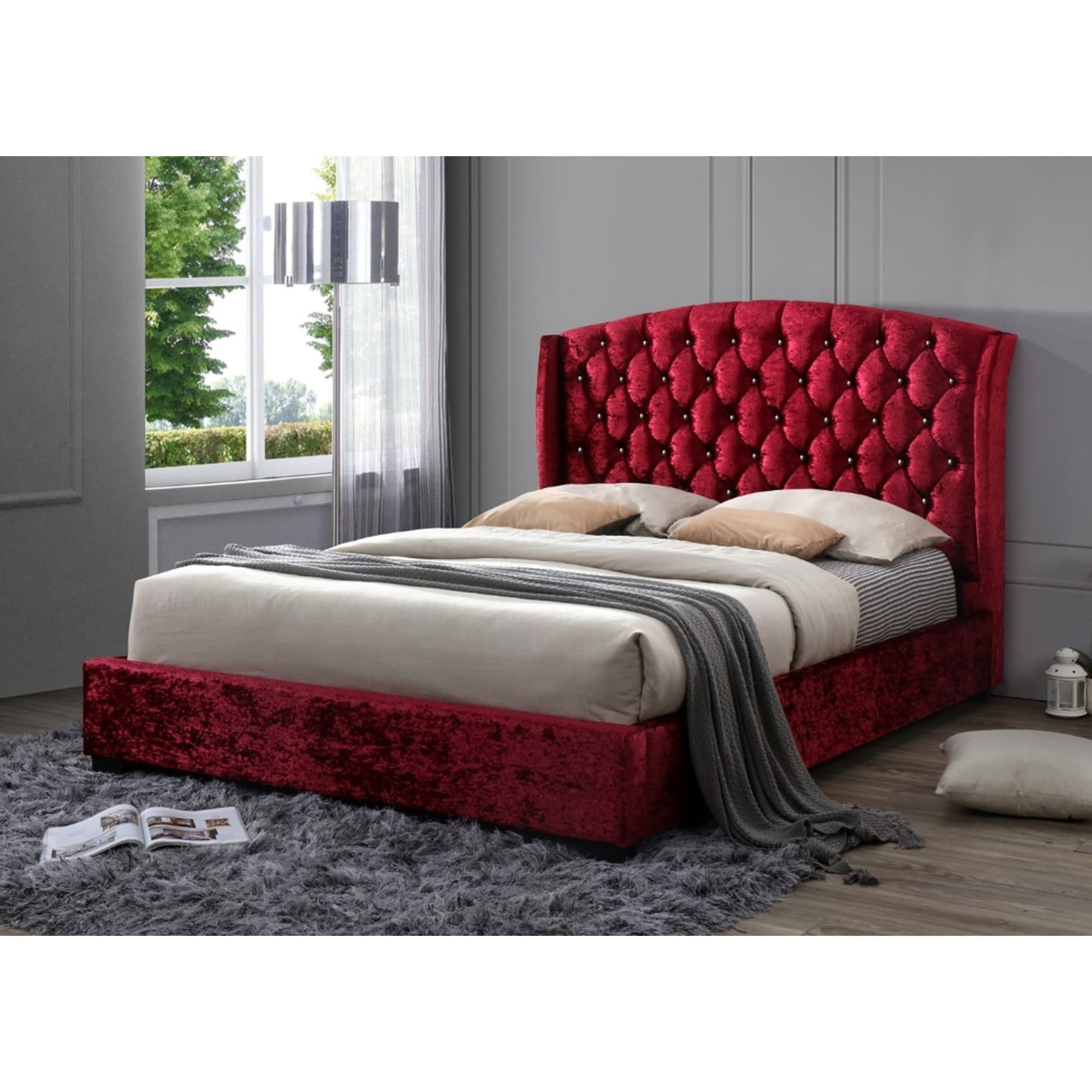 Picture of: Red Tufted Classic Crushed Velvet Wingback Queen Platform Bed With A 65 In Tall Headboard No Box Spring Required Overstock 25613674