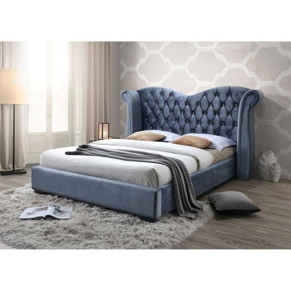 Grey-blue Tufted Velvet Classic Wingback Queen Platform Bed