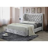 Modern Tufted Silver Crushed Velvet Queen No Box Spring Required Platform Bed with a 67-inch Tall Headboard