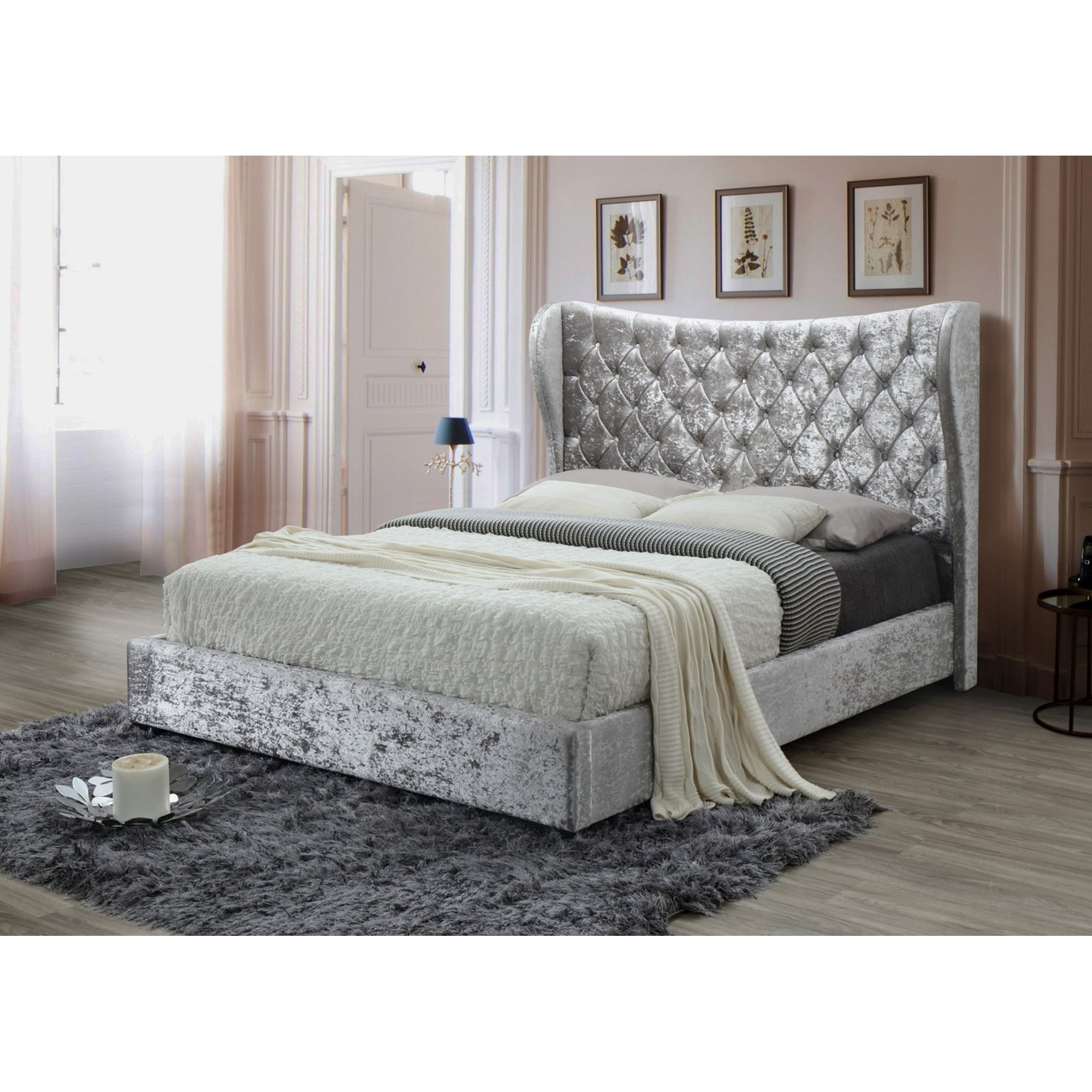 Silver Tufted Modern Crushed Velvet Queen Platform Bed With A 67 In Tall Headboard No Box Spring Required Overstock 25613700