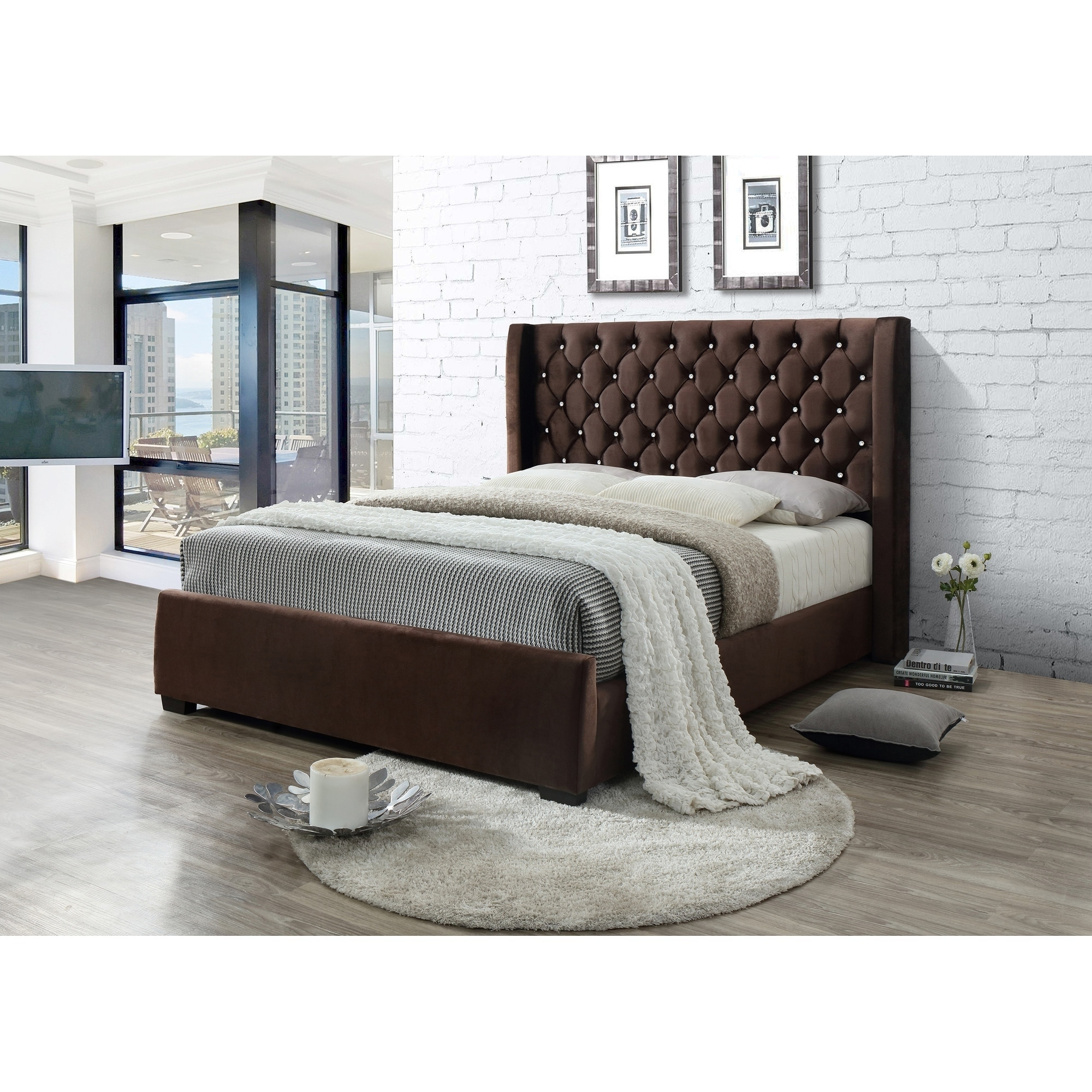 Brown Tufted Modern Velvet Wingback Queen Platform Bed With A 65 In Tall Headboard No Box Spring Required Overstock 25613701