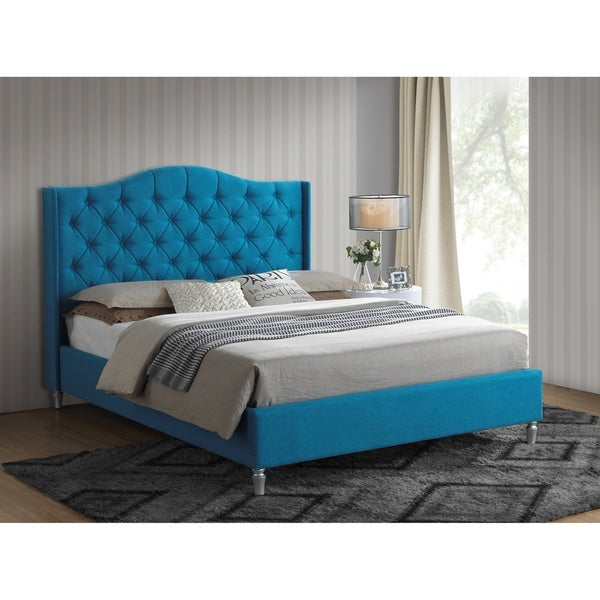 Peacock Turquoise Blue Tufted Classic Linen Wingback Queen Platform Bed with a 65-in Tall Headboard No Box Spring Required. Opens flyout.