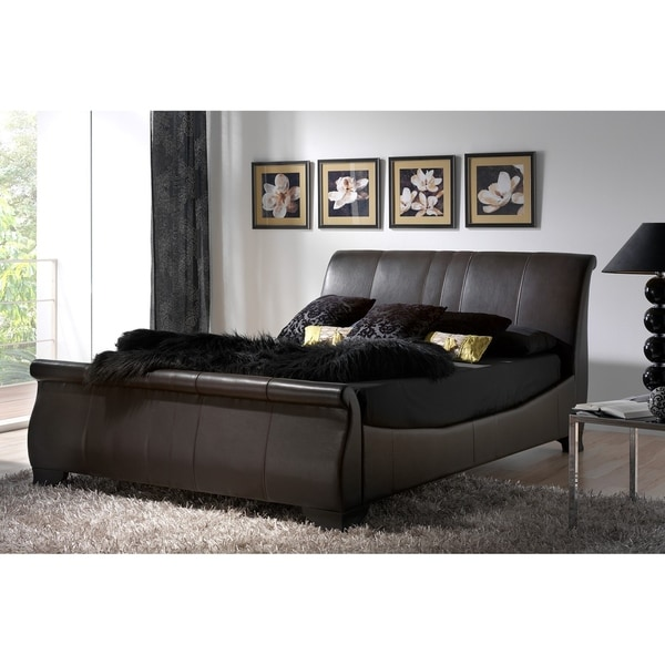 Shop Brown Modern Faux Leather Queen Sleigh Bed With A 50