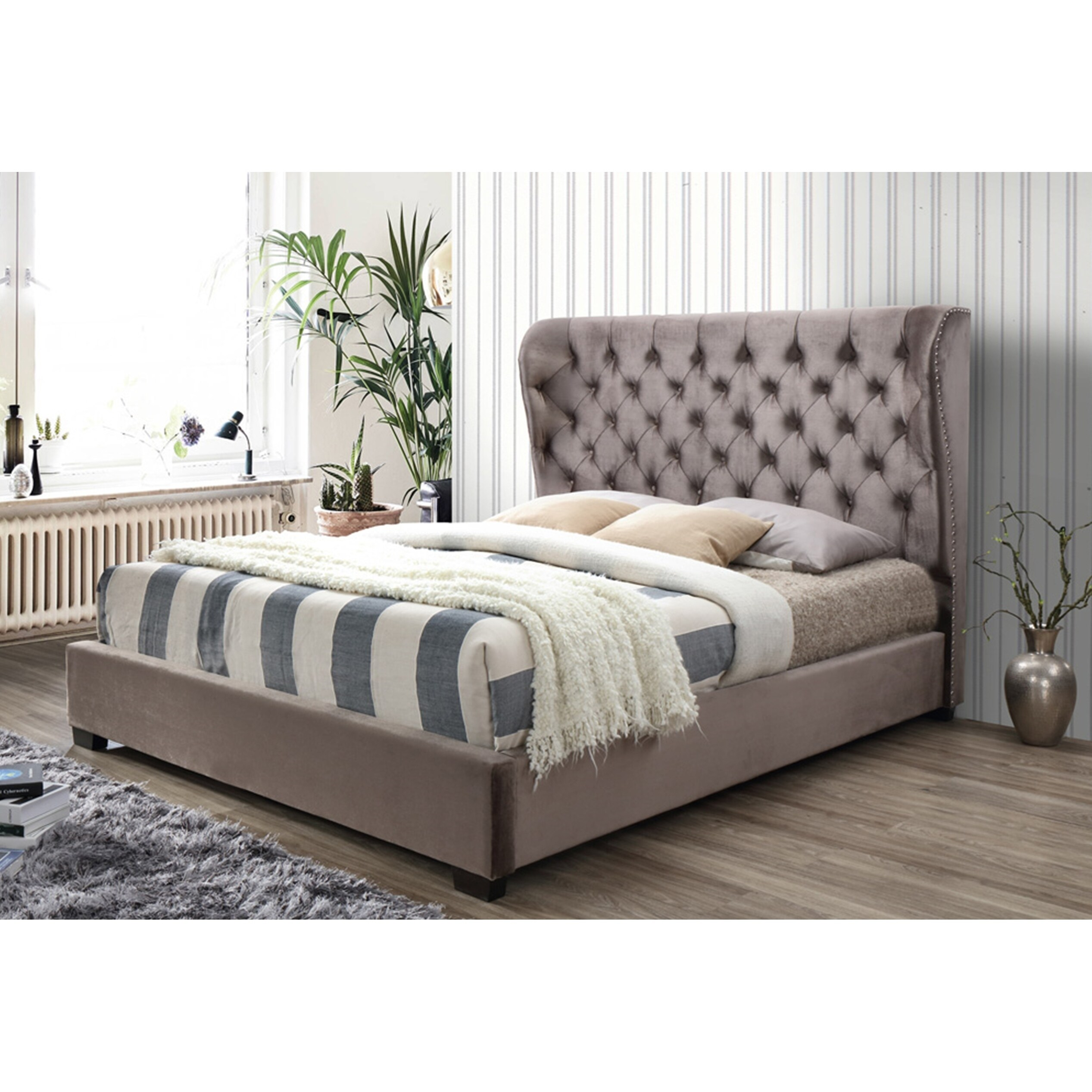 Light Brown Tufted Classic Velvet Wingback Queen Platform Bed With A 65 In Tall Headboard No Box Spring Required Overstock 25613705