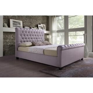 Pink Linen Queen 65-inch High Headboard Tufted Modern Sleigh Platform Bed