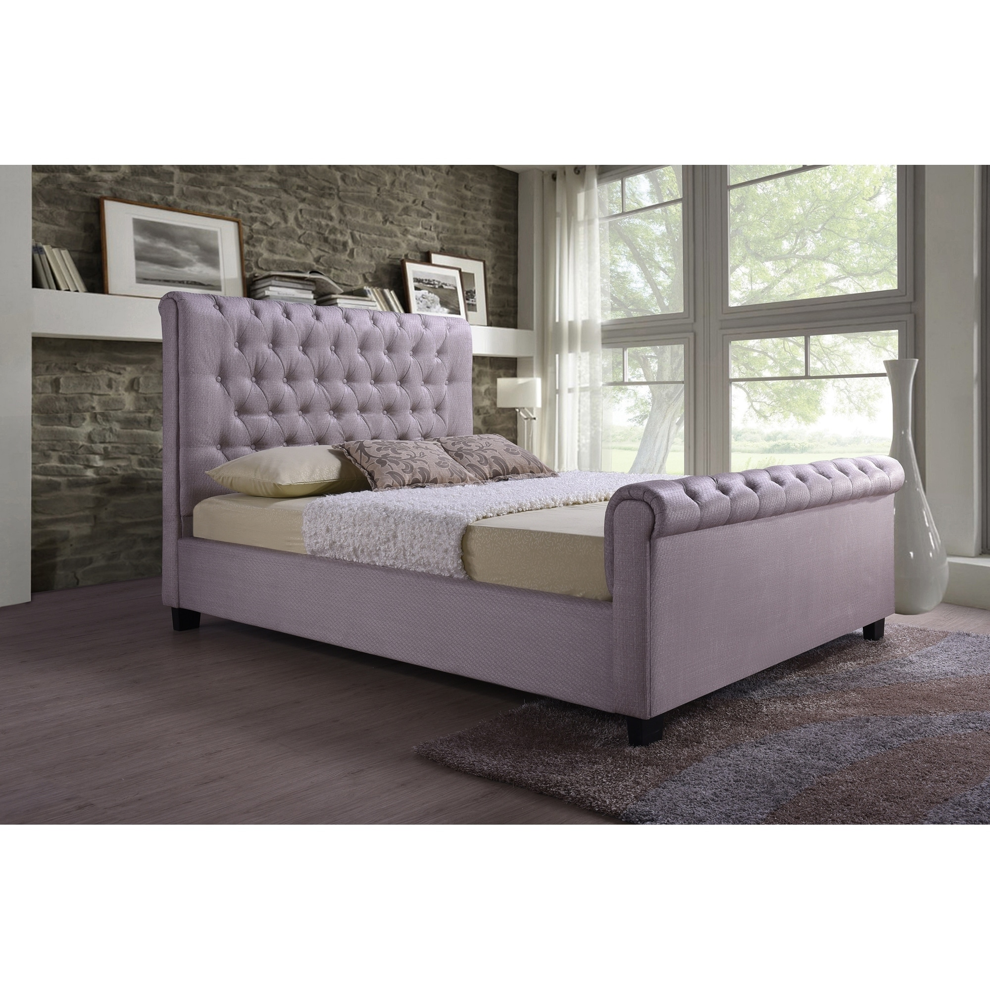 Picture of: Shop Black Friday Deals On Pink Tufted Modern Linen Queen Sleigh Bed With A 65 In Tall Headboard No Box Spring Required Overstock 25613706