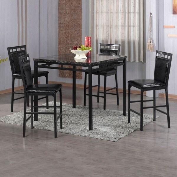 Ashland Black Counter Height 5 Piece Dining Set: Shop The Home Source Eric Black Counter-height 5-piece