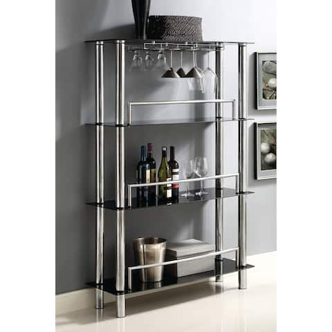 Home Source Georgina Black Metal And Tempered Gl Bar Unit