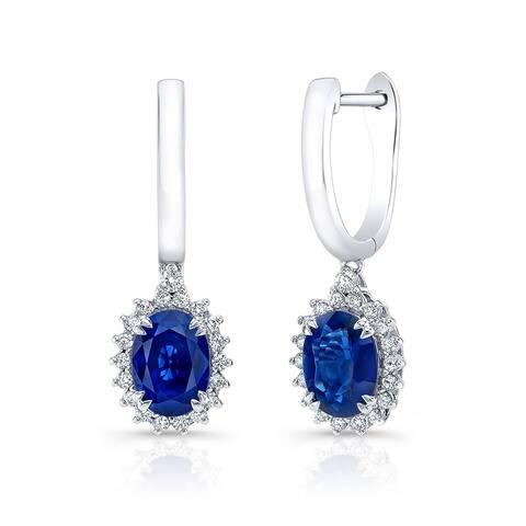 Sapphire Oval & Diamond Starburst Frame Earrings in 14k White Gold