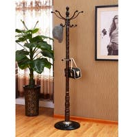 Home Source Sylvian Dark Espresso Coat Stand with Sculpted Base