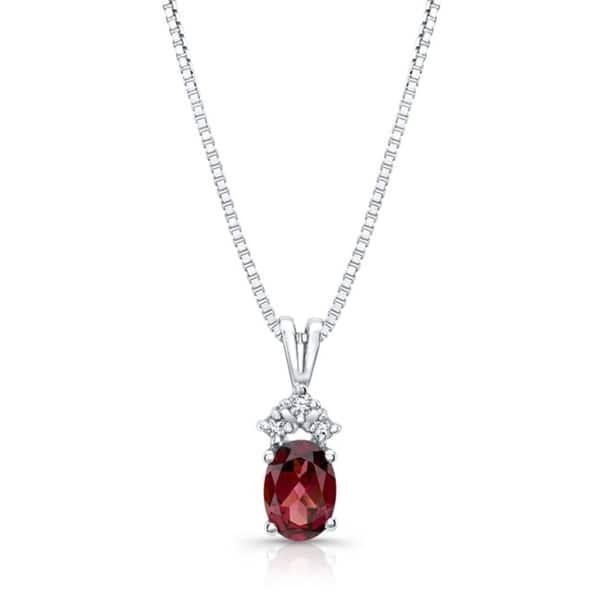 14K Real White Gold Necklace Dainty Necklace For Gift, Women Real Diamond Jewelry Teardrop Garnet Necklace Women Diamond Pendant