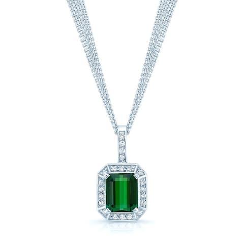 Emerald Cut Green Tourmaline & Diamond Halo Pendant Necklace In 18k White Gold (12x10mm Pendant), 16 Inches