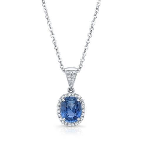 18K White Gold Sapphire and Round Cut Diamond (0.2 ct. t.w) Circle Pendant Necklace
