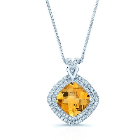 Citrine & Diamond Double Halo Pendant Necklace In 14k White Gold, 17 Inches