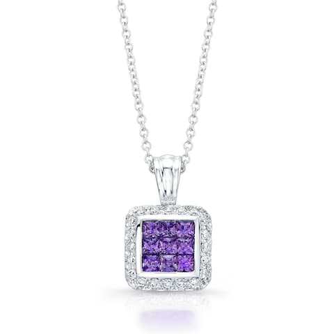 Amethyst & Pave Diamond Pendant Necklace In 14k White Gold, 17 Inches