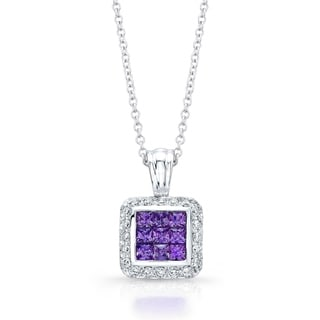 Amethyst Pave Diamond Pendant Necklace In 14k White Gold 17 Inches