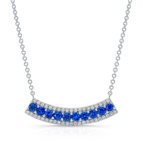 Sapphire & Diamond Curved Pendant Necklace In 14k White Gold, 17 Inches