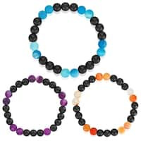 Matte Black and Agate Stone Beaded Bracelet (8mm)