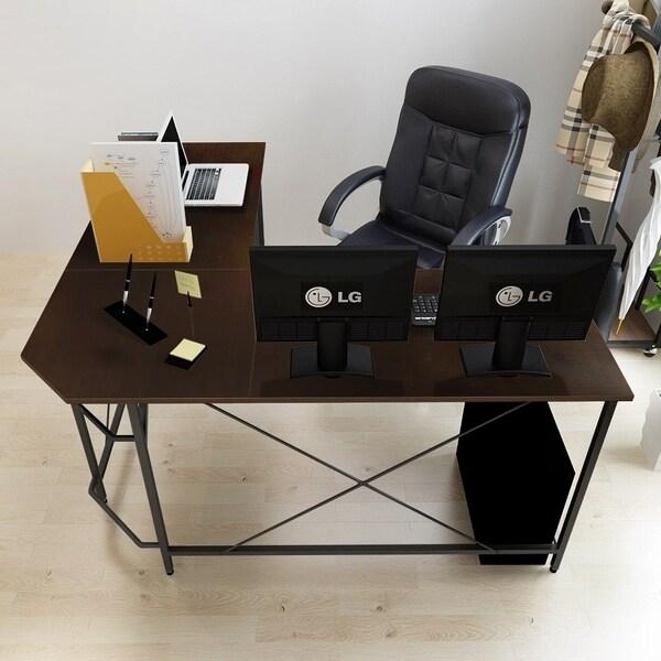 Soges Wood Finish Large Corner L-shaped Computer Desk Workstation |  Overstock com Shopping - The Best Deals on Desks
