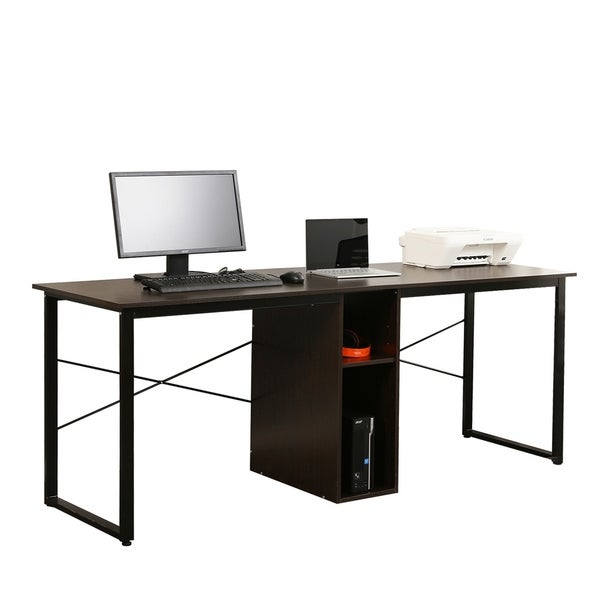 Double office desk Cool Soges 2person Office Desk Large Double Workstation With Storage Overstock Shop Soges 2person Office Desk Large Double Workstation With