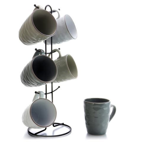 Elama Tahitian Waves 6-Piece 12 oz. Mug Set with Stand