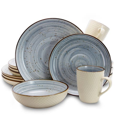 Elama Mellow 16-Piece Dinnerware Set in Powder Blue