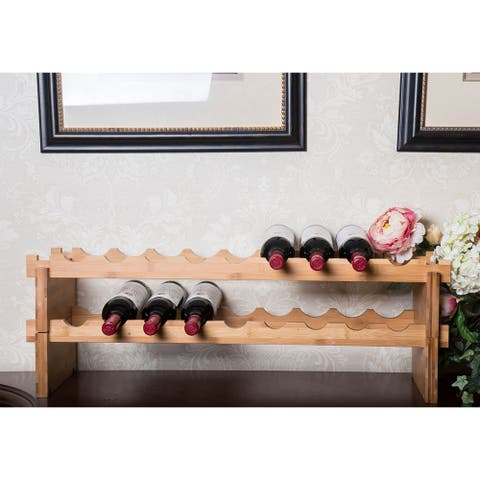 Kinbor 18/12-Bottle Bamboo Wine Rack Stackable Wine Holder Storage Display Shelf