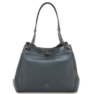 Coach Turnlock Edie Cypress Grey Leather Shoulder Bag with Fabric Interior and Zippered Multipurpose Pockets