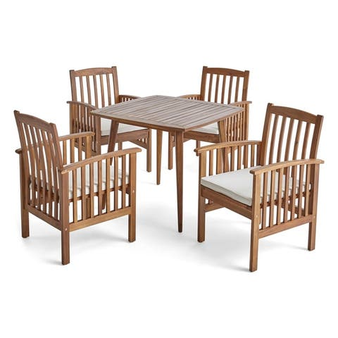 """Casa Outdoor 4-Seater 36"""" Square Acacia Patio Dining Set with Straight Legs by Christopher Knight Home"""