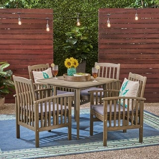 "Link to Casa Outdoor 4-Seater 36"" Square Acacia Patio Dining Set with Straight Legs by Christopher Knight Home Similar Items in Outdoor Dining Sets"