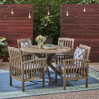 """Casa Outdoor 4-Seater 47"""" Round Acacia Dining Set with X-Legs by Christopher Knight Home"""